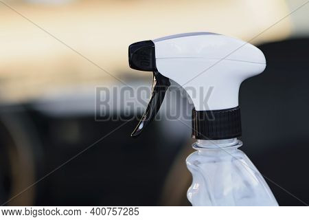 Liquid Spray Spray Bottle For Cleaning And Washing Close Up. Spray Bottle, Empty Clear Plastic Conta