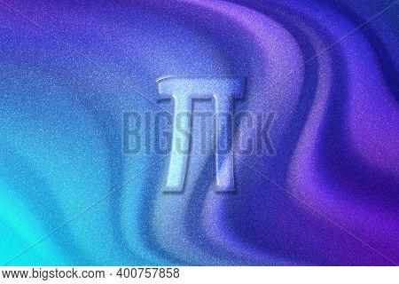 Pi Sign. Pi Letter, Greek Alphabet Symbol, Violet Violet Blue Background