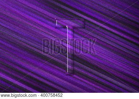 Tau Sign. Tau Letter, Greek Alphabet Symbol, Violet Background