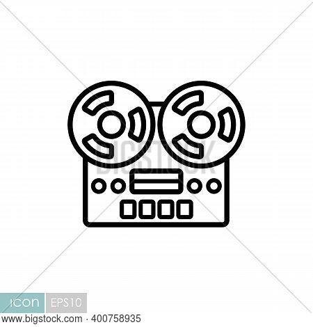 Nostalgic Vintage Bobbin Tape Player Recorder Device Vector Icon. Graph Symbol For Music And Sound W