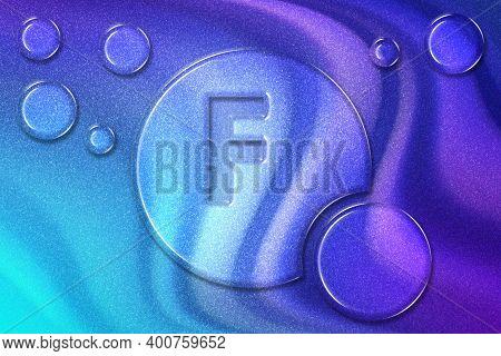 Element F Fluorine, Mineral Vitamin Complex Dietary Supplement, Violet Violet Blue Background
