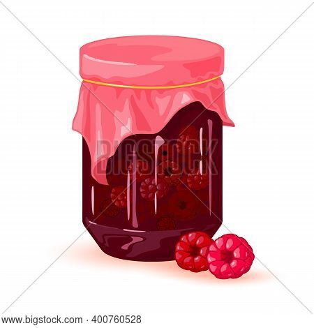 Delicious Sweet Canned Jam In Glass Jar, Vitaminized Raspberry Jam For Dessert. Vector Organic Produ