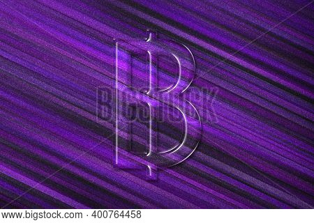 Thai Baht, Thb Baht Currency, Monetary Currency Symbol, Violet Background