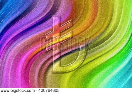 Turkish Lira, Try Lira Currency, Monetary Currency Symbol, Rainbow Glitter Background