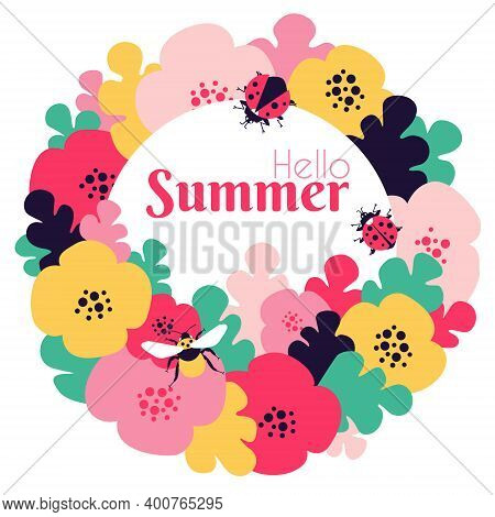 Hello Summer Card With Floral Motives And Insects. Bumblebee And Ladybug Insects. Colorful Summer Me
