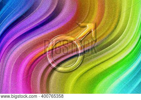 Symbol Of Mars, Mars Sign, Astrology Mars Planet, Rainbow Glitter Background