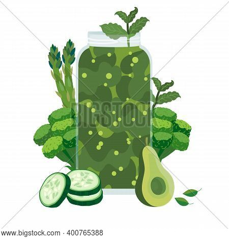 Green Smoothie Cocktail With Asparagus, Avocado, Cucumber And Broccoli. Healthy Green Drink. Good Fo