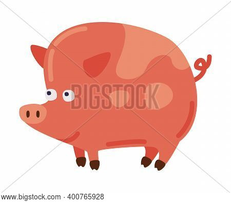 Pig Animal, Farm Livestock Cartoon Style Vector Illustration