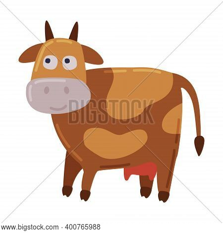 Brown Spotted Cow, Dairy Cattle Animal Husbandry Breeding Cartoon Style Vector Illustration