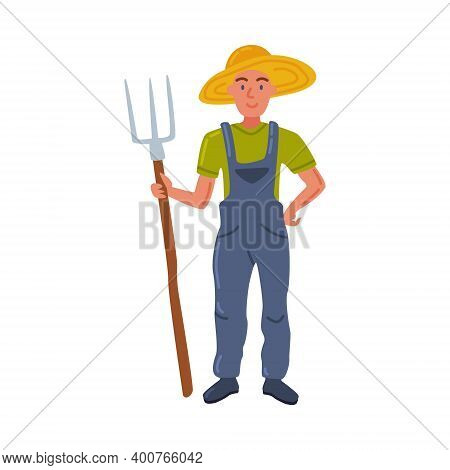 Woman Farmer With Pitchfork, Male Agricultural Worker Gardener Character Working On Farm, Eco Farmin