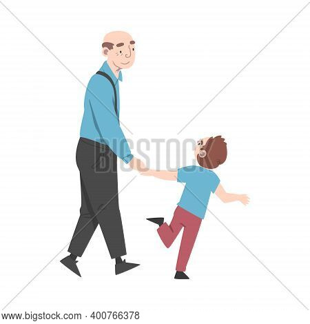 Grandpa And Grandson Spending Pastime Time Together, Grandparent Walking With His Grandchild Cartoon