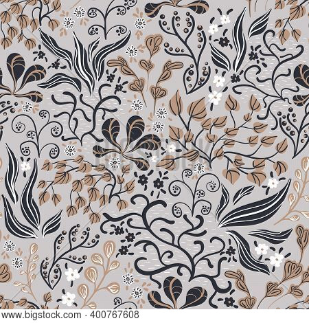 Seamless Pattern In A Hand-drawn Style. An Intricate Plant With Leaves And Berries Flowers. Vector B