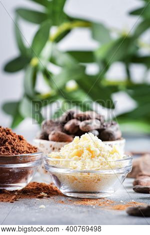 Organic Cocoa Butter, Cocoa Beans, Grated Cocoa Lump, Dark Chocolate On Gray Background. Copy Space