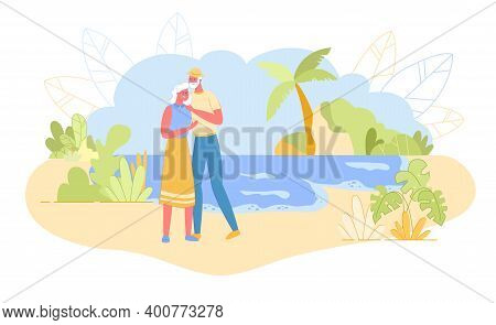 Loving Aged Couple Embracing Standing On Sandy Beach With Seascape Background And Palm Trees Around.