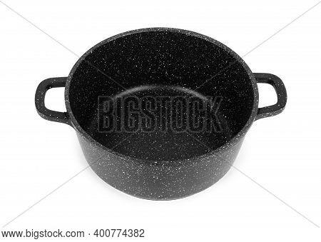 Stainless Steel Pot Non-stick, White Background Handles, Stockpot, Shiny, Kitchen, Utensil, Cooking