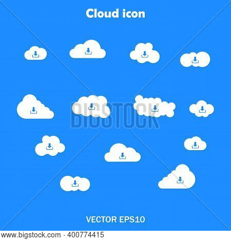 Set Of Icons Of Clouds White On A Blue Background For Sites Set Of Clods. Vector Eps10