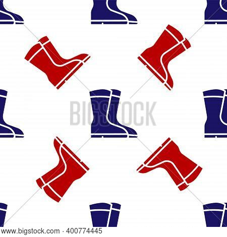 Blue And Red Fishing Boots Icon Isolated Seamless Pattern On White Background. Waterproof Rubber Boo