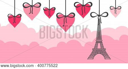 Eiffel Tower And Pink Hearts. Valentines Day Greeting Card. Template For Your Design. Vector Illustr
