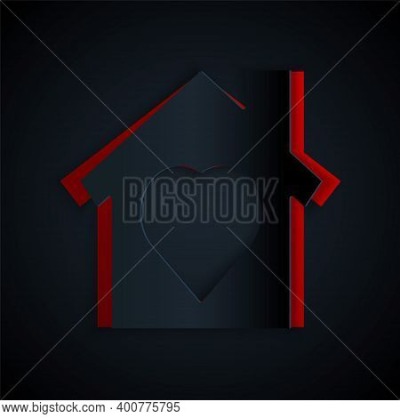Paper Cut House With Heart Inside Icon Isolated On Black Background. Love Home Symbol. Family, Real