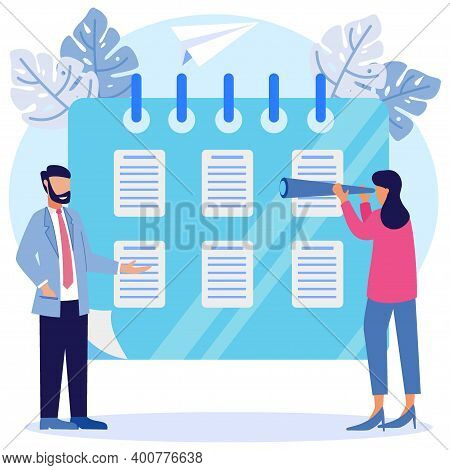 Vector Illustration Of A Business Concept. The Character Of The Person Creates Business Schedules An