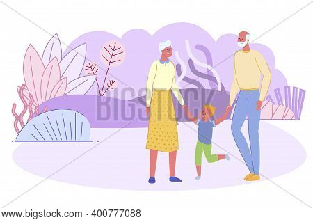 Senior Couple Walking With Little Boy In Park. Grandfather And Grandmother Holding Hands With Grands