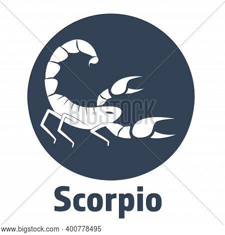 Simple Cartoon Zodiac Sign Scorpio Depicting Arthropod Animal. Illustration Of An Astrology Sign Sco