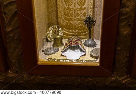Bethlehem, Israel, December 09, 2020 : The Showcase With Religious Supplies In The Cave Of The Sheph