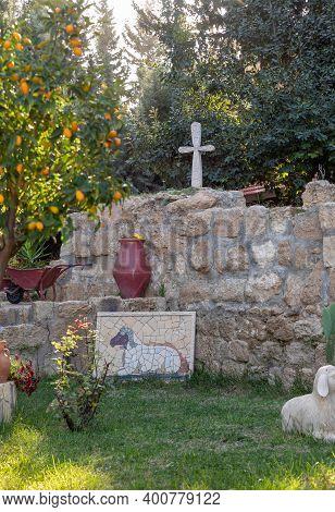 Bethlehem, Israel, December 09, 2020 : The Courtyard Of The Greek Orthodox Shepherds Field In Beit S