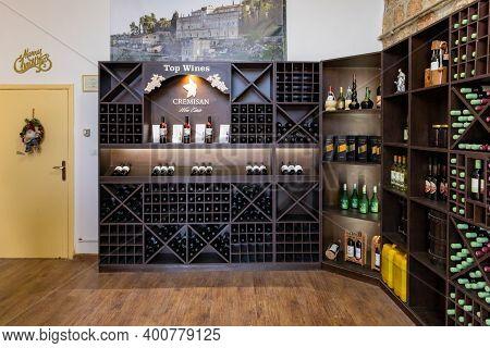 Bethlehem, Israel, December 09, 2020 : Wine Bottles On Racks In A Store At The Cremisan Winery, Loca