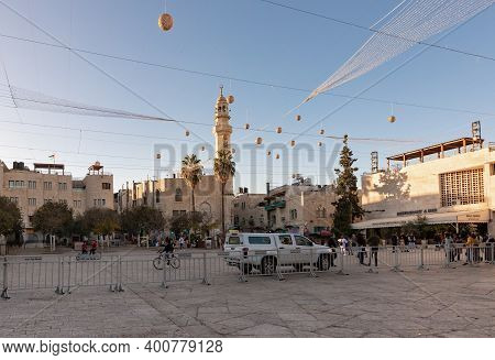 Bethlehem, Israel, December 09, 2020 : The Central Square In The City Of Bethlehem Decorated For The