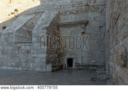 Bethlehem, Israel, December 09, 2020 : The Entramce To The Church Of Nativity Building In The Centra