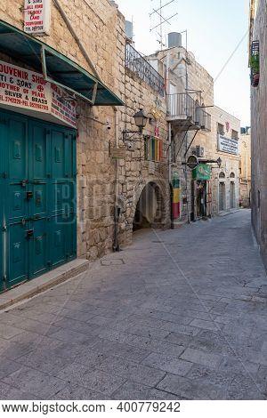 Bethlehem, Israel, December 09, 2020 : Milk Grotto Street Deserted Due To Coronavirus In Bethlehem I