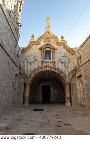 Bethlehem, Israel, December 09, 2020 : The Facade Of Milk Grotto Church In Bethlehem In The Palestin