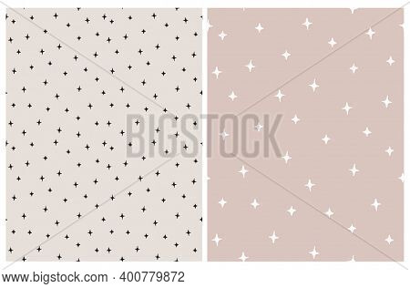 Seamless Hand Drawn Vector Pattern With White And Black Irregular Stars Isolated On A Light Dusty Pi