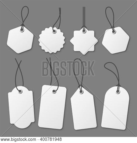Realistic White Price Tags Collection. Special Offer Or Shopping Discount Label. Retail Paper Sticke
