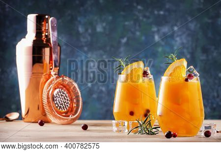 Fresh Cocktail With Orange, Cranberry, Rosemary And Ice. Alcoholic, Non-alcoholic Drink Beverage Wit