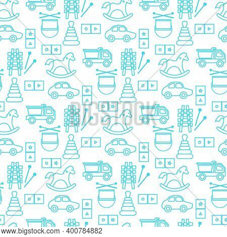 Vector Seamless Pattern Kid Toys Illustration Happy Childhood Gaming Items Cars Pyramid, Domino, Xyl