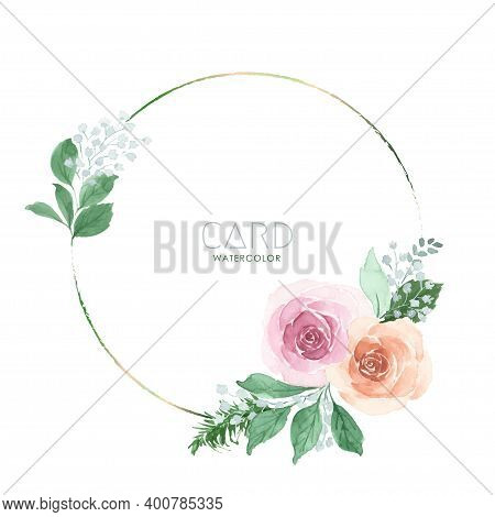 Pink And Orange Rose Bouquet Watercolor Floral Hand-painted On Circle Frame. Vector Flower For Weddi