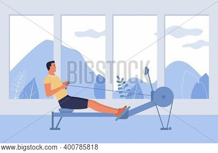 A Man Is Engaged In A Rowing Simulator In The Gym, The Concept Of Preparing For Rowing Competitions.