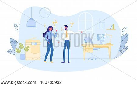 Business Woman And Man Arguing And Having Quarrel In Office Workplace Business Dispute Disagreement