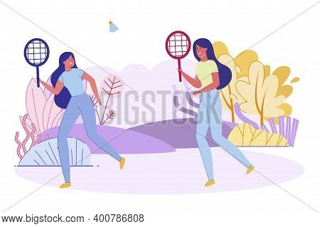 Happy Girls Playing Badminton Outdoor, Young Friends Spare Time Activity. Sports Game Tennis Players