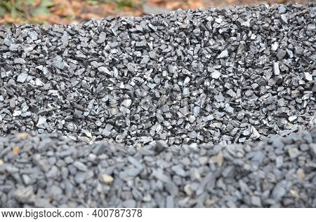 Two Heaps Of Fine Fraction Anthracite Coal Of Different Types.