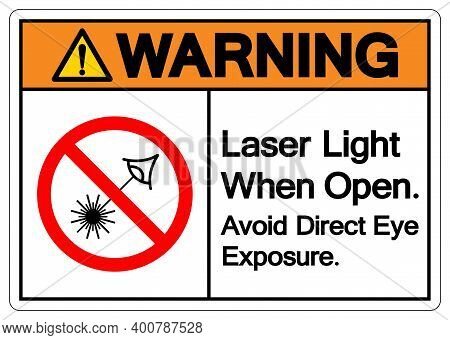 Warning Laser Light When Open Avoid Direct Eye Exposure Symbol Sign ,vector Illustration, Isolate On