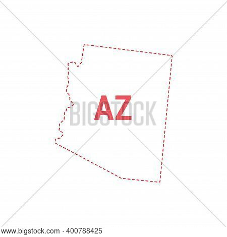 Arizona Us State Map Outline Dotted Border. Vector Illustration. Two-letter State Abbreviation.