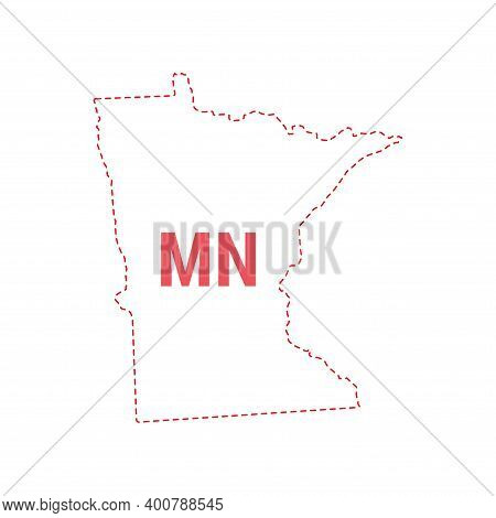 Minnesota Us State Map Outline Dotted Border. Vector Illustration. Two-letter State Abbreviation.