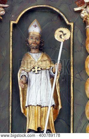 SVETI PETAR MREZNICKI, CROATIA - JULY 14, 2013: St. Blaise, statue on the high altar at St. Peter's Parish Church in Sveti Petar Mreznicki, Croatia