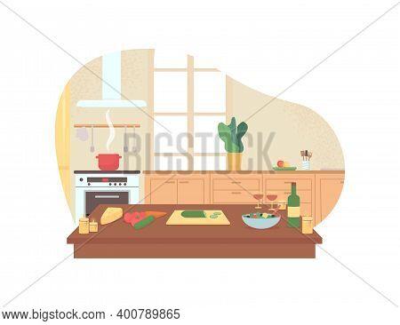Preparing Romantic Dinner In Home Kitchen 2d Vector Web Banner, Poster. Valentines Day Preparation F