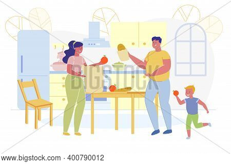 Informational Banner, Family Unpacks Purchases. Parents Have Fun With Their Son. At Home They Get Pu