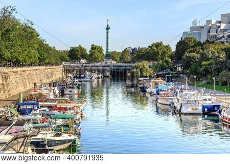 Paris, France - August 30, 2019: This Is The Arsenal Basin Near Bastille Square..