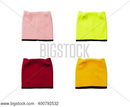 Colorful Fleece Hats Isolated On White Background, Front View